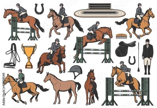 Fototapeta Equestrian sport vector icons, horse riding and race equipment jockeys and hippodrome