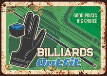 Billiards Equipment Metal Plate Rusty, Game Outfit And Pool Snooker Game Items Shop, Vector Retro Poster. Russian Billiards And Snooker Pool Players Sport Outfit And Gaming Equipment Store Sign Rust