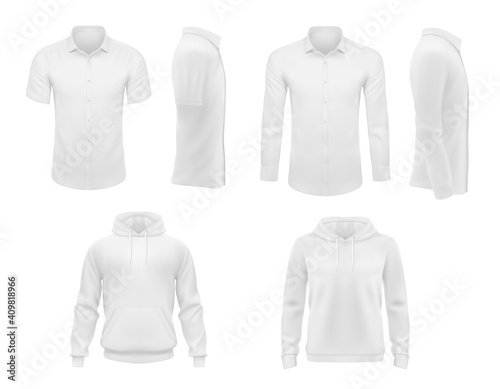 Fototapeta Men clothes vector shirts with short and long sleeves and hoody apparel mockup