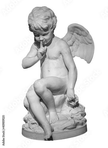 White angel figurine isolated on white background Fototapete