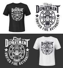Fire And Firefighters Department T-shirt Print Mockup, Vector Template. Fireman And Firefighting Dept Icon With Fire Hydrant, Maltese Cross And Stars, Safety And Firefighter Symbol For T Shirt Print