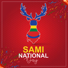 Sami National Day. Red Background