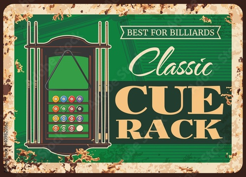 Valokuva Billiards cue rack metal plate rusty, pool snooker game equipment and player items shop, vector retro poster