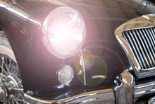 Closeup  Shot Of A Headlight Of An Antique Vitage Car