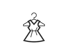 International Woman's Day Icon. Dress Black Line Sign. Premium Quality Graphic Design Pictogram. Outline Symbol Icon For Web Design, Website And Mobile App On White Background