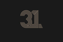 Number 31 Logo, Monogram Number 31 Logo Multi Line Style, Usable For Anniversary And Business Logos, Flat Design Logo Template, Vector Illustration