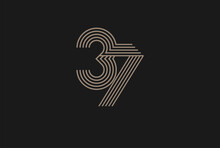 Number 37 Logo, Monogram Number 37 Logo Multi Line Style, Usable For Anniversary And Business Logos, Flat Design Logo Template, Vector Illustration