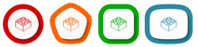 Toy Brick Vector Icon Set, Flat Design Buttons On White Background