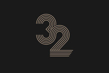 Number 32 Logo, Monogram Number 32 Logo Multi Line Style, Usable For Anniversary And Business Logos, Flat Design Logo Template, Vector Illustration