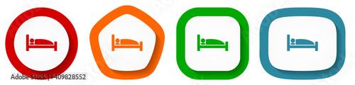 Obraz Hotel vector icon set, flat design buttons on white background - fototapety do salonu