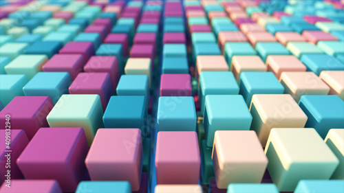 Fototapety, obrazy: A colorful grid of three-dimensional moving cubes. 3d illustration