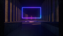Bright Neon Frame In The Middle Of A Stone Concrete Museum. Copy Space. Modern Light Spectrum. Architectural Neon Animation Background 3d Illustration