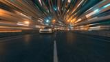 Fototapeta Do przedpokoju - The movement of cars on a futuristic bridge with fiber optic. Future technologies concept. Business background. Pleasant natural light. 3d illustration