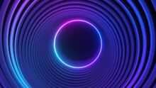 Blue Violet Neon Circle Abstract Futuristic High Tech Motion Background. 3d Illustration