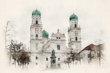 St. Stephen's Cathedral In Passau, Bavaria, Germany. The Baroque Church With Its Bavarian Onion Domes Is A Landmark In The City Of Passau. Watercolor Illustration.