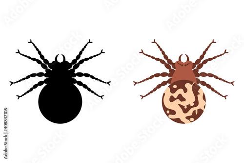 Poisonous spider silhouette arachnid fear graphic flat scary animal poisonous de Wallpaper Mural