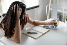 Woman Is Stressed And Overthink By Debt From Many Credit Cards.