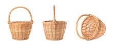 Set With Empty Wicker Baskets On White Background, Banner Design