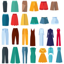 Collection Of Women's Clothing In A Flat Style, Dress, Trousers, Shorts, Skirt
