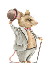 Watercolor Vintage Man Mouse In Gray Suit Holding Hat And Walking Stick.isolated On White Background. Watercolor Hand Drawn Illustration Sketch
