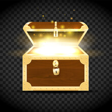 Wooden Chest With Gold Fittings And Glowing Treasure Inside