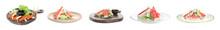 Set Of Delicious Crab Sticks On White Background, Banner Design