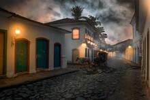 Represetation Of The Streets Of The City Of Paraty At Night, Paraty - Rio De Janeiro, Brazil