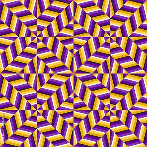 Purple golden optical illusion seamless pattern Fototapeta