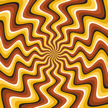 Optical Motion Illusion Vector Background. Golden Brown Curved Striped Pattern Move Around The Center.
