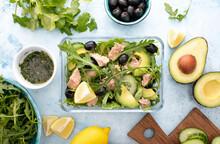 Tuna Arugula Salad Prepared Ahead And Packed In A Glass Lunch Box