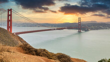 Beautiful Views Of The Golden Gate Bridge And San Francisco Bay From Cape Marin In The Golden Gate National Recreation Area.