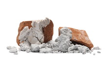 Bricks And Cement Pile Isolated On White Background