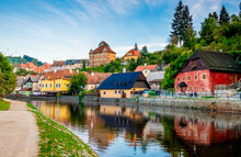 Amazing View Of River In Front Of Exciting Cesky Krumlov Cityscape