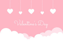 Valentines Day Banner With Hearts Background