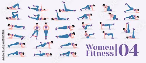 Obraz Women Workout Set. Women doing fitness and yoga exercises. Lunges, Pushups, Squats, Dumbbell rows, Burpees, Side planks, Situ ps, Glute bridge, Leg Raise, Russian Twist, Side Crunch .etc - fototapety do salonu