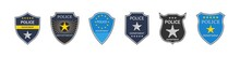 Police Badge. Police Department. Emblem Of Shield For Cop And Officer. Sign Of Security, Law And Protect. Symbol Of Sheriff, Detective And Policeman. Label With Star And Crest. Icon Of Patrol. Vector
