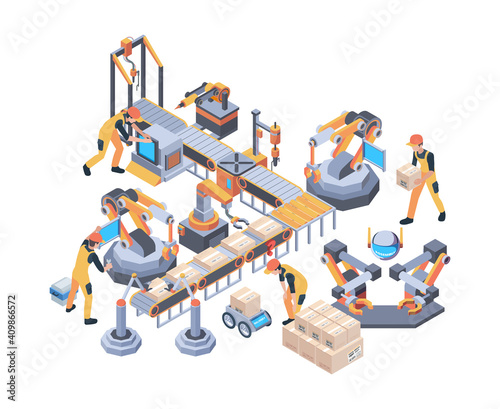 Fototapeta Conveyors belt. Machinery packaging moving wheel industry line vector factory isometric. Conveyor belt, machinery production gear illustration obraz