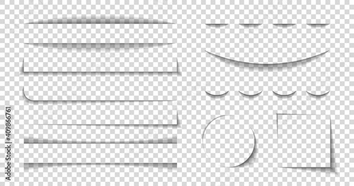Divider shadow lines. Divider of paper with shadows. Box for web page. Banner with frame on transparent background. Design borders with effect for text. Set of graphic element for website. Vector