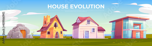 Fotografía House evolution architecture. Dwellings time line
