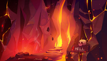 Road To Hell, Infernal Hot Cave With Lava And Fire