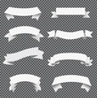 Big Set White Ribbon Grey Transparent Background With Gradient Mesh, Vector Illustration