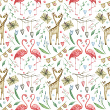 Watercolor Seamless Pattern With Illustration Of Flamingos And Giraffes In Love, As Well As Flowers, Hearts, Envelopes And Berries