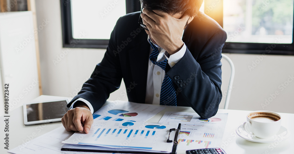Fototapeta bankruptcy and loss concept, businessman, person went bankrupt, organization completely lacking in a particular quality or lose business value
