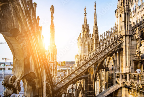 terraces of the famous Duomo Cathedral of Milan