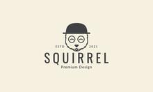 Squirrel Line With Hat Logo Symbol Icon Vector Graphic Design Illustration