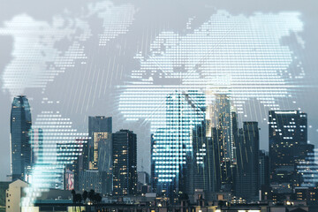 Multi exposure of abstract graphic world map hologram on Los Angeles office buildings background, connection and communication concept