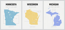 Vector Posters Detailed Silhouettes Maps Of The States Of America With Abstract Linear Pattern, The Great Lakes Region - Minnesota, Wisconsin,  Michigan - Set 5 Of 17
