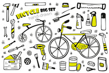 Bicycle Repair Tools And Accessories Big Set. Two Beautiful Bicycles Hand-drawn Isolated On A White Background. Image