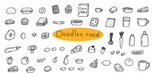 Doodle Set Food, Breakfast, Drinks, Sweets, Cheese, Vegetables, Fruit, Vector Illustration, Hand Drawing