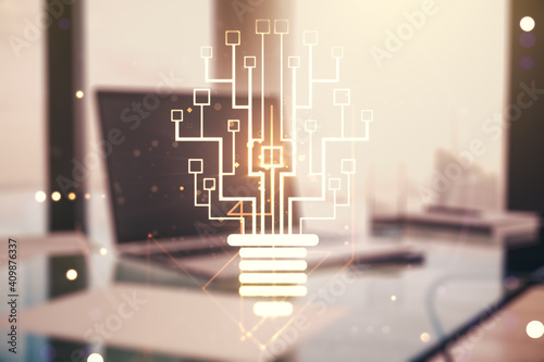Creative light bulb with chip hologram on modern laptop background, artificial Intelligence and neural networks concept. Multiexposure